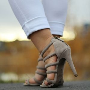 Coach Taupe Suede Strappy Caged High Heels
